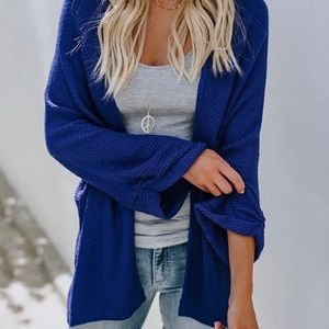 Sweaters - {Abigail} Blue Cute Trendy Knit Cardigan - Blue